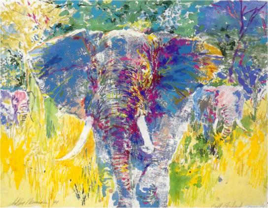 Leroy Neiman Elephant Bull Elephant  17 12x23 12